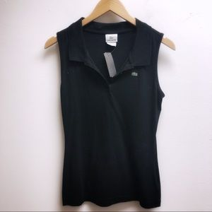 Lacoste Small Black polo style button up tank